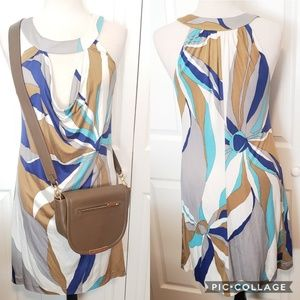 Trina Turk Keyhole Multi Color Silk Dress
